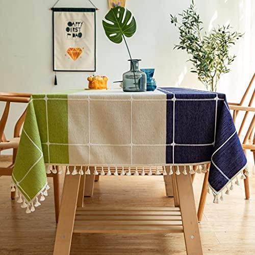 Milkyway Paño de mesa de tela de algodón, lavable, con costuras rectangulares, a prueba de polvo, para mesa, fiestas, banquetes, comedor, decoración (azul, verde y blanco, 140 x 140 cm)