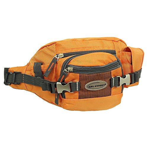Geschenkset - exklusiver Ledershop24 Schlüsselanhänger + Herren & Damen Bag Gürteltasche Bauchtasche Hüfttasche Angeltasche Wimmerl Tasche ca. 25 cm Farbe orange