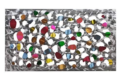 Kunstloft® Extravagante Escultura de Pared de Metal 'Magia Multicolor' 105x61x5cm | Decoración XXL Metal Arte | Abstracto círculos Plateado Amarillo | Cuadro Hecho a Mano Imagen Mural Arte Moderno