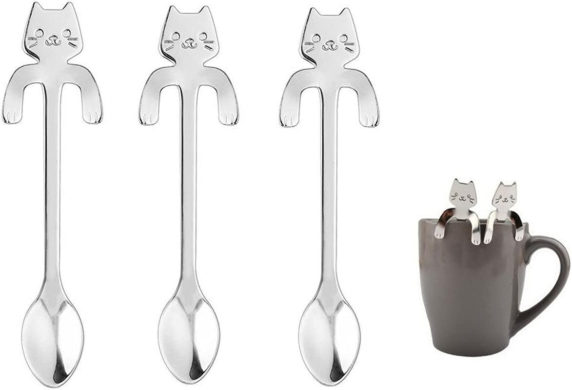 3PCS Hanging Coffee Spoon Stainless Steel Cat Dessert Spoon Drink Spoons Mixing Spoon Milkshake Spoon Tableware Kitchen Supplies