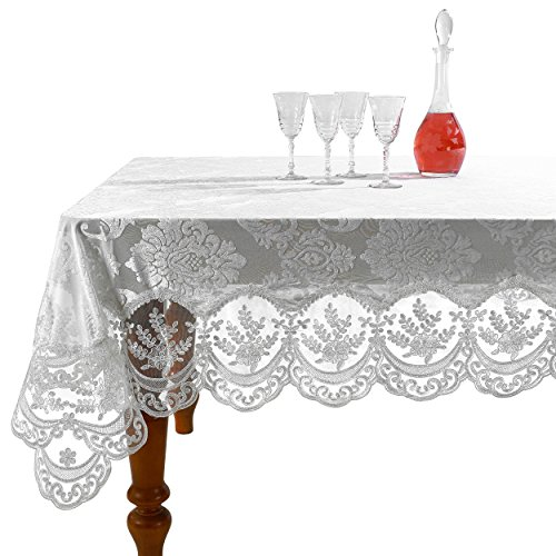 Violet Linen Fontainebleau Embroidered, 100% poliestere, bianco, 70' Round