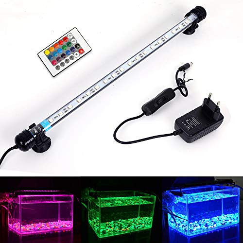 MLJ Acuario LED Iluminación, Iluminación LED para Acuarios Plantados Lámpara LED para Peceras Resistente al Agua Luz para (Deutschland Lagerhaus) (37cm, RGB)