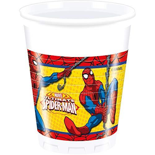 Ciao Procos 86670 – Gobelets Plastique Ultimate Spider Man Power, 200 ML, 8 pièces, Rouge/Bleu/Jaune