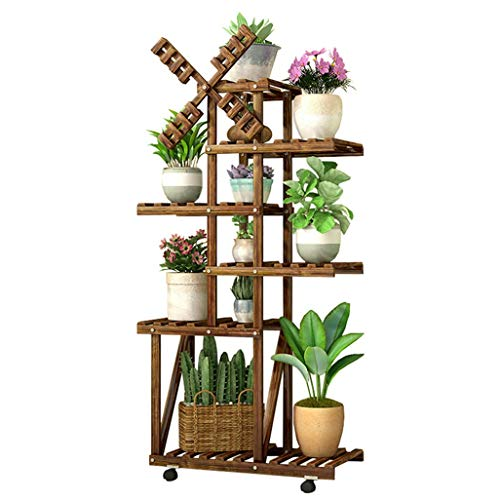 Escaliers à fleurs 6 niveaux support de fleurs étagère à pot en bois de pin étagère de rangement pour pots de plantes d'intérieur pour patio balcon salon Nature avec roue 19,6\