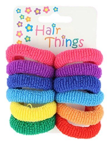 Set of 12 Small Bright Tones Hair Ponios Donuts Bobbles Bands by Pritties Accessories