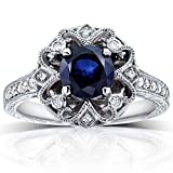 Kobelli Antique Round Blue Sapphire and Diamond Vintage Style Engagement Ring 1 1/2 Carat (ctw) in 14k White Gold, Size 9.5