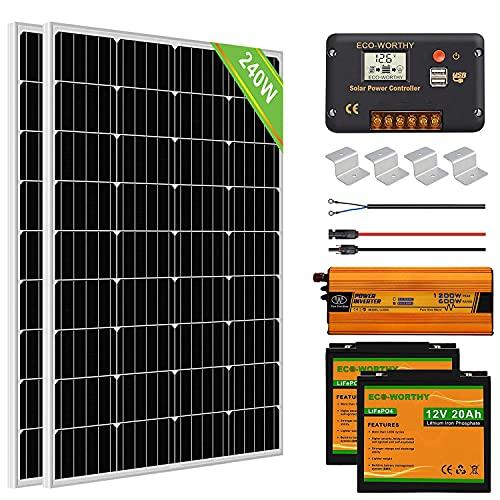 ECO-WORTHY 1 kW·h/Tag Solarsystem 240W 12V mit Wechselrichter und Batterie netzunabhängig für Wohnmobil:2 Stücke 120W Solarmodul + 20A Laderegler + 2 Stücke 20Ah Lithiumbatterie + 600W Wechselrichter