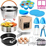 18 pieces Pressure Cooker Accessories Set Compatible with Instant Pot 6,8 Qt - 2 Steamer Baskets, Springform Pan, Stackable Egg Steamer Rack, Egg Beater, 2 Silicone Trivet Mats