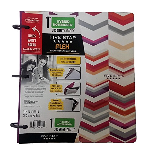 Five Star NoteBinder, 1 3 Ring Binder, Flex Style Hybrid, 200 Sheet, 11-1/2 x 10-3/4 (Purple Chevron)