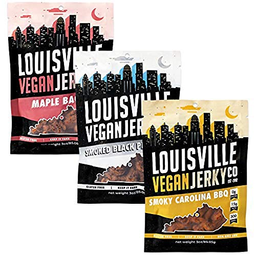 Louisville Vegan Jerky - 3 Flavor Variety Pack, Vegetarian and Vegan Friendly Jerky, Non-GMO Soy Protein, Gluten-Free Ingredients (Smoked Black Pepper, Maple Bacon and Smokey Carolina BBQ, 3 Ounces)