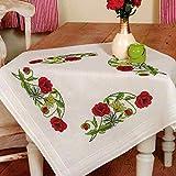 Kamaca Stickpackung Tischdecke Mohnblumen Kreuzstich vorgezeichnet aus Baumwolle Stickset mit Stickvorlage (Mitteldecke 80x80 cm)