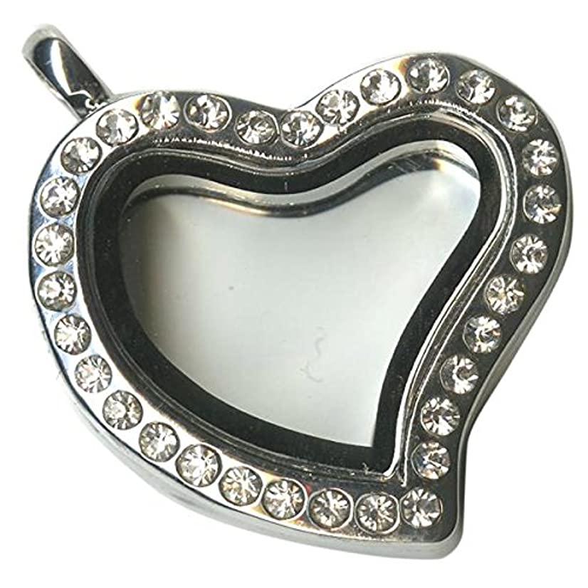 Blue Moon Beads Story Lockets Metal and Glass Locket, Heart/Jeweled, Silver