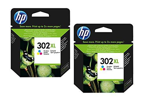 Cartucho de tinta original de HP f6u66ae HP 302hp302para HP Deskjet 3630–Black–Potencia: aprox. 190Páginas/5%, color (09) 2x XL Tintenpatrone - Color