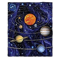 "Dawhud Direct Super Soft Full/Queen Size Fleece Blanket, 75"" x 90"" (Solar System)"