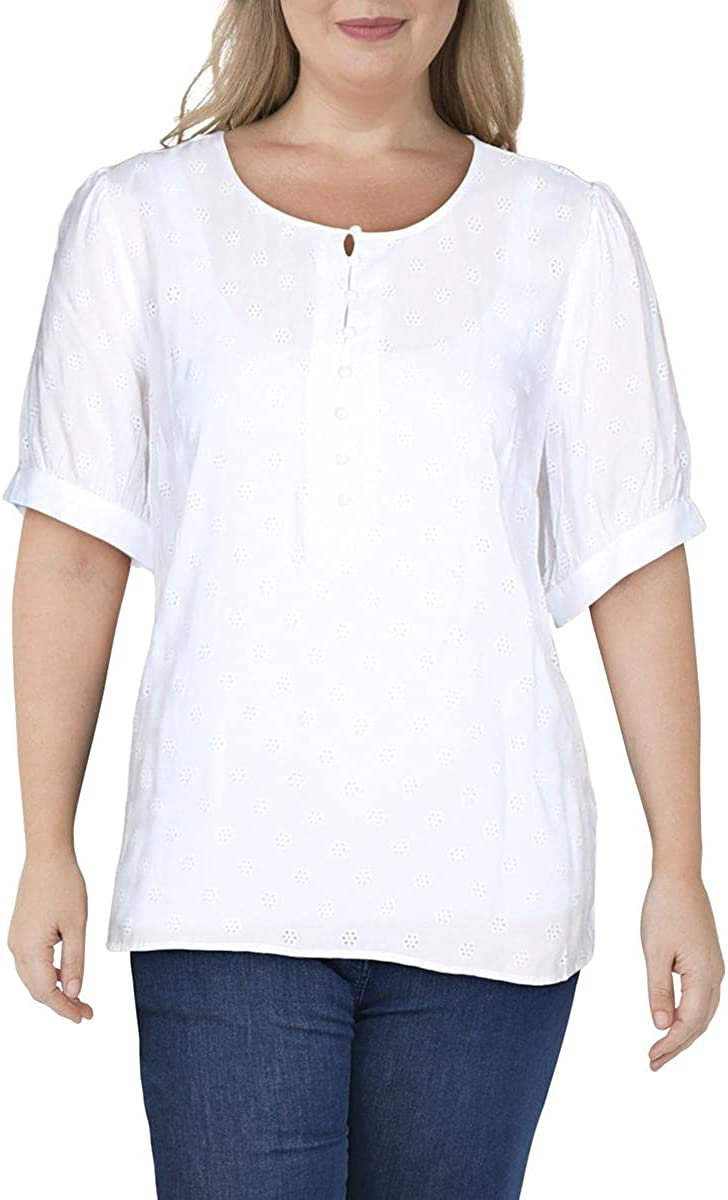 Vince Camuto Womens Plus Button Front Eyelet Blouse White 2X