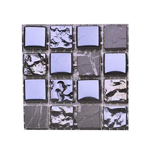 Leileixiao 10 unids Fuerte Autoadhesivo Mosaico azulejo Espalda Placa Pegatina de Pared 3D Impermeable Impermeable Vinilo Pared decalitación DIY habitación baño Cocina Cocina (Color : B10)