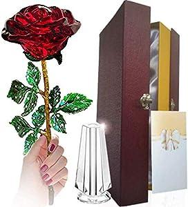 Rosa, Rosa De Cristal, Flor De Rosa Dorado Y Eterno - para La Esposa/Novia/Dia De Saint Valentine/Dia De La Madre/Aniversatios/Cumpleanos. El Regalo Que Merece Cada Mujer. (Red with Vase)