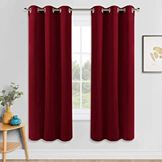 PONY DANCE Red Window Curtains - Thermal Insulated Room Darkening Curtain Panels Light Block Noise Reducing Blackout Draperies for Xmas Living Room Home Decor, W 42 x L 72 inch, Red, Set of 2
