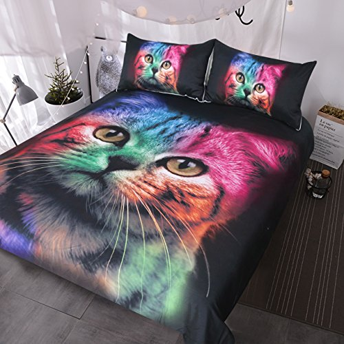 BlessLiving Cat Bedding for Girls Boys Cute Colorful Cat Pattern Bedspread 3 Piece Bold Color Black Animal Duvet Cover Set (Full)
