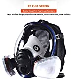 Head Mask Full Face Ventilative Biochemical (Respirator Canister) Anti-Gas and Pesticide Dust, 360° Full Seal Protection with Filter Box, Widely Used in Organic Gas, Spray Paint Chemical