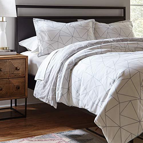 Amazon Brand – Rivet Triangle Geometric Cotton Duvet Cover Set, Easy Care, Full / Queen, Slate Grey