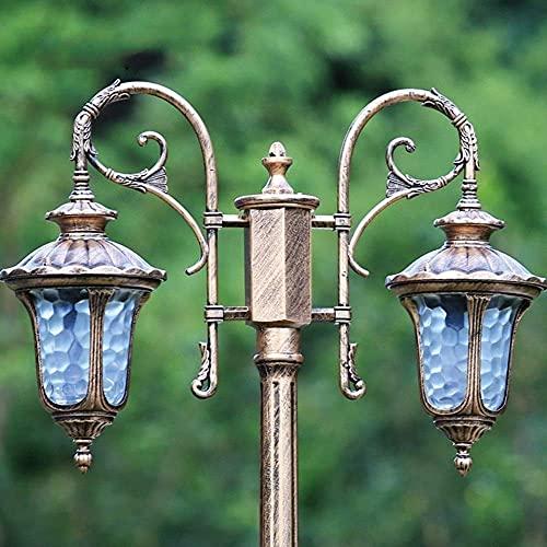 Linterna de poste para césped de poste alto para exteriores Ip54 Impermeable Exterior Jardín Villa Patio Pasillo Bolardo de aluminio Columna Lámpara Iluminación Parques Corredor E27 * Luz de 2 pila