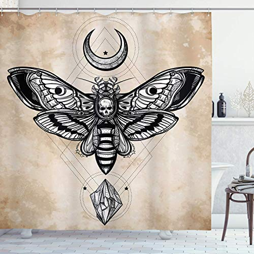 Viowr22iso Fabric Shower Curtain Liner with Hooks Fantasy Dead Head Hawk Moth with Luna and Stone Magic Skull Illustration White Black Waterproof Curtains Set for Bathroom Decor 72 X 80''