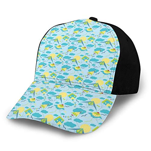 Gorra de béisbol de bajo perfil ajustable para hombre y mujer, diseño de pájaros y cometas volando en el cielo con nubes