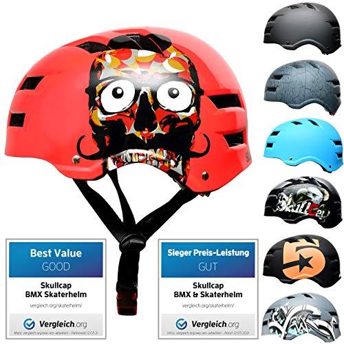 SkullCap® Skaterhelm Erwachsene Rot Limited Edition: Red Skull - Fahrradhelm Herren ab 18 Jahre Größe 58-61 cm - Scoot and Ride Helmet Adult Red - Skater Helm für BMX Inliner Fahrrad Skateboard
