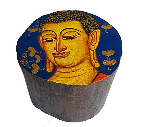 Buddha Style Wooden Box - Handmade Decorative Wood Storage with Lid - Small Holder for Rings, Trinkets, Stash, Herbs and Jewelry - Beautifully Hand-Painted Design with Gold Accents - Blue