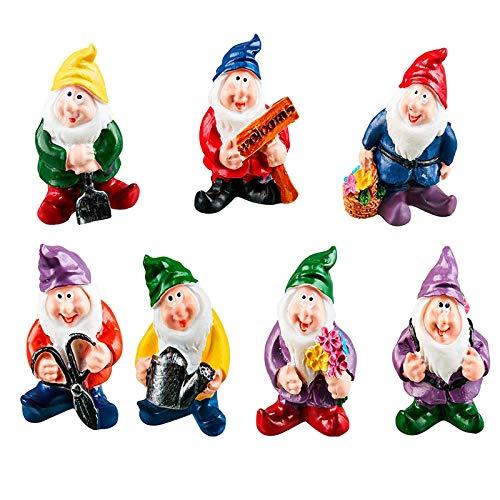 Mini-Gartenzwerge, 7-teiliges Set, Kunstharz-Spielzeug, sieben Zwerge, Miniatur-Ornament, Kit für Puppenhaus, Pflanzendekoration, Außendekoration