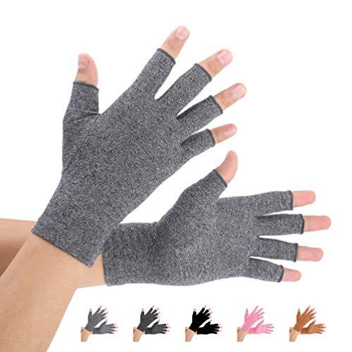 2 Paare Arthritis Handschuhe, Unterstützung für Kompressionshandschuhe und Wärme für Hände, Linderung von Schmerzen bei Rheumatoiden, Arthrose, RSI, Karpaltunnel, Sehnenentzündung(Grau,M)