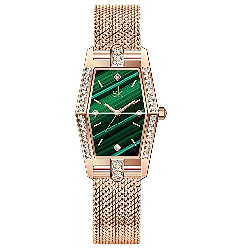 SK Plaza Reloje Mujere Correa de Malla de Acero Inoxidable Banda de Cuero Rectangular Relojes de Pulsera para Mujeres (Green-Mesh)