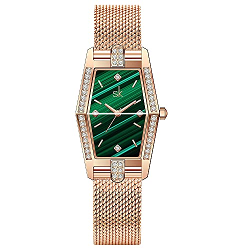 SK Plaza Reloje Mujere Correa de Malla de Acero Inoxidable Banda de Cuero Rectangular Relojes de Pulsera para Mujeres(Green-Mesh
