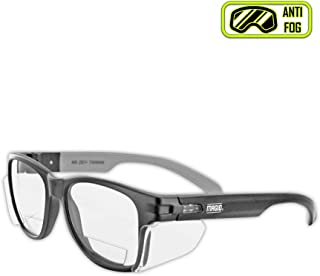MAGID Y50BKAFC20 Iconic Y50 Design Series Safety Glasses with Side Shields | ANSI Z87+ Performance, Scratch & Fog Resistant, Comfortable & Stylish, Cloth Case Included, +2.0 BiFocal Lens (1 Pair)