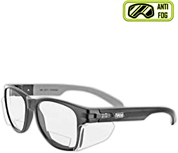 MAGID Y50BKAFC15 Iconic Y50 Design Series Safety Glasses with Side Shields | ANSI Z87+ Performance, Scratch & Fog Resistant, Comfortable & Stylish, Cloth Case Included, +1.5 BiFocal Lens (1 Pair)