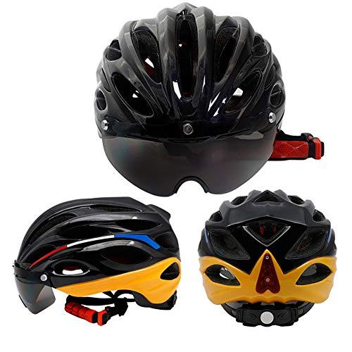 Mountainbike-Helm, Fahrrad-Rennradhelm (57-62 cm), mit Brille/mit Lichtern, für Männer und Frauen-A