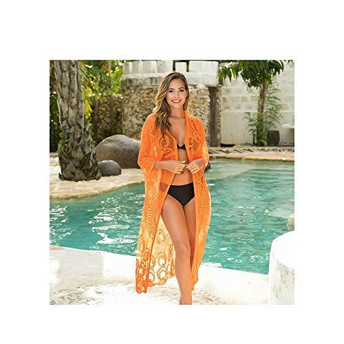 GQSC New Strand top, mit gesticktem Mesh-Sonnenschutz, Bikini Strickjacke, Sommer der Frauen Bademode (Color : Orange, Size : 1 Piece)