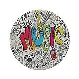 Alfombrilla de ratón Redonda de Goma Antideslizante Música Pop Art Fondo Musical de Estilo Doodle con ilustración de Arte de Sonido de Instrumentos Multi 7.9'x7.9'x3MM