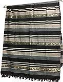 Indian Classic Ribbed Cotton Elephant Zari Brocade Border Coverlet Bedspread (Black, Queen Size)