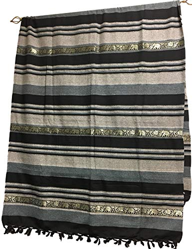 Rajasthan Cottage Indian Classic Ribbed Cotton Elephant Zari Brocade Border Coverlet Bedspread (Black, Queen Size)