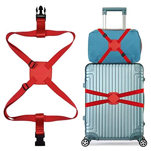 スーツケースベルト バッグとめるベルト ずり落ち防止 ゴム 調整可能 軽量 持ち便利 旅行 出張 レッド