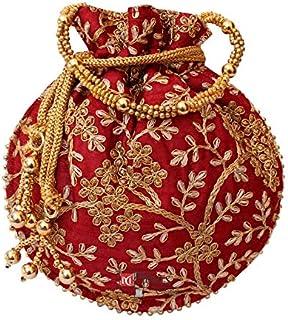 Zoya Gems & Jewellery Rajasthani Designer Potli Golden Embroidery Bag Pearl Handle And Tassel Ethnic Purse Women's Handbag...