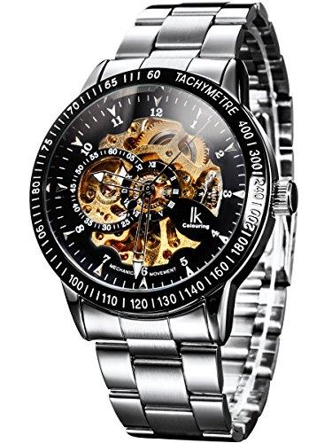 Alienwork IK Herren Damen mechanische Automatik-Uhr Silber mit Edelstahl Metallarmband schwarz Skelett