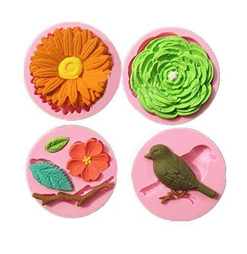 [Immer Garten] vier Set Blume Vogel Silikonform / handgemachte Seife / Harz Ton / Harz / Silikonform / gestanzte Typ / kit Werkzeug