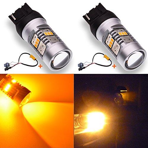 KATUR 1800LM Amber 7440 7440NA 992 Ampoule de Rechange à LED 14SMD 3020 Ampoules de Clignotants pour Voiture avec décodeur Canbus 50W (8 ohms) résistances de Charge, Ensemble Complet