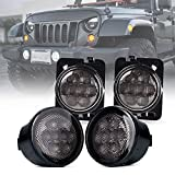 Xprite LED Smoke Lens Turn Signal Lights with Parking Function & Front Fender Side Marker Amber Light Assembly Replacement Combo Compatible with 2007-2018 Jeep Wrangler JK & Wrangler Unlimited