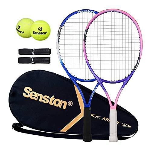 Senston Raqueta de Tenis de 23 'para Paquete de 2 Raquetas de Tenis para Juego de Tenis con Pelotas Rosa + Azul
