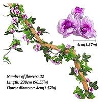 造花シルクローズラタン230センチメートル長さ/ Aウェディングアーチガーランドロマンチックなバラにはガラスドームの安いのための16〜69の花 (色 : SMTMGT020)