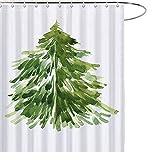 MAEZAP Wasserfarbe, Weihnachtsbaum-Duschvorhang, Landhaus-Dekoration, wasserdicht, Polyester, mit Haken, 177,8 x 177,8 cm
